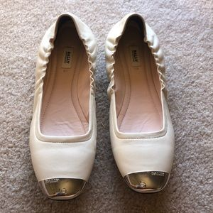 White leather Bally flats